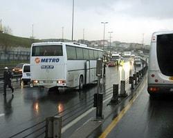 Takla Atarak Metrobüs Yoluna Girdi