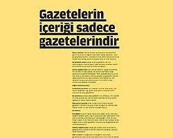 'Gazetelerin İçeriği Sadece Gazetelerindir'