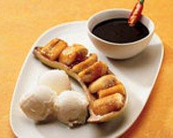 Karamelize Muz Vanilyalı Dondurma ve Çikolata Sos İle