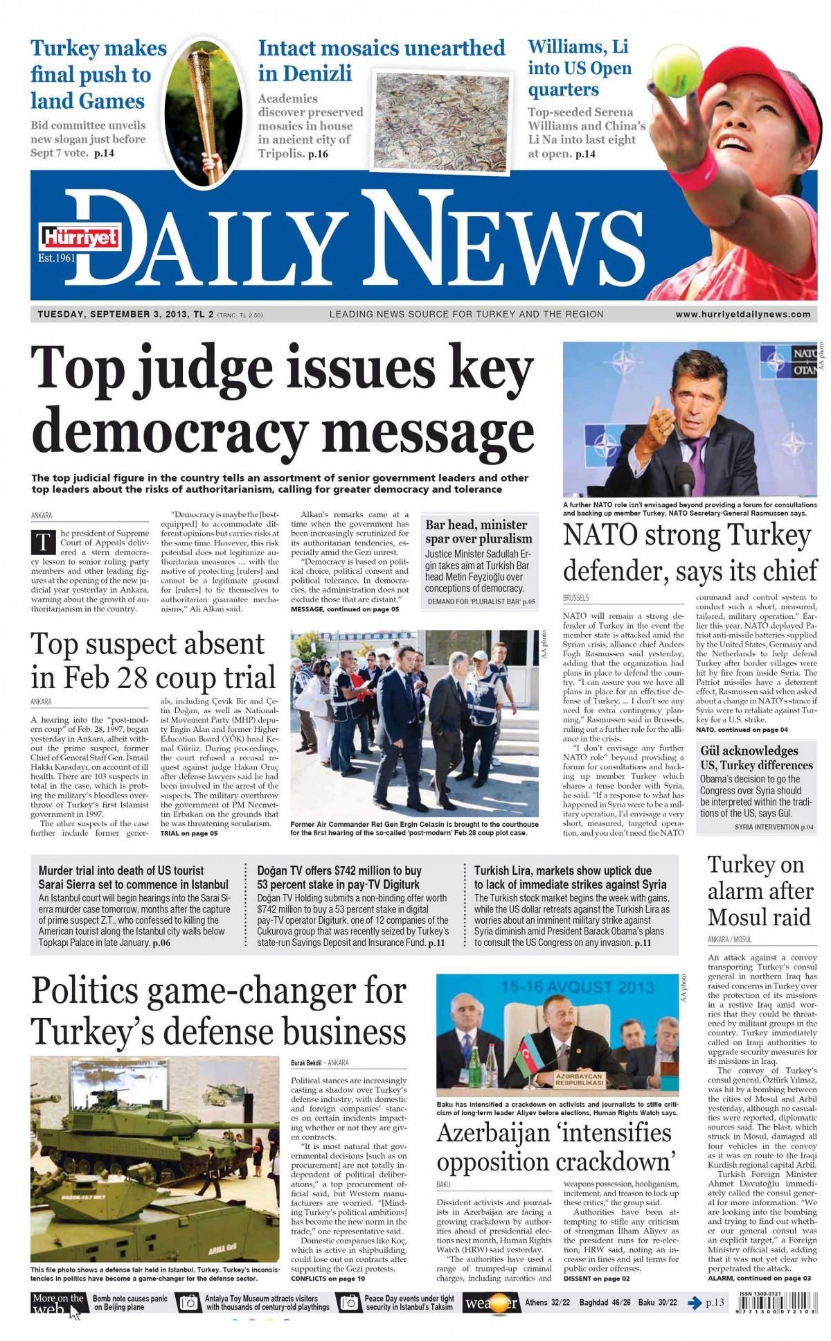 Gazetelerin 03012014 tarihli birinci sayfaları