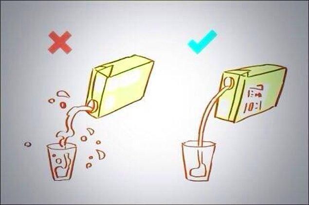 23. Kutu içecekler aşağıdaki gibi doldurulursa dökülme olayı daha az olur.