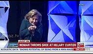 Hillary Clinton'a Las Vegas'da konuşması sırasında ayakkabı atılması