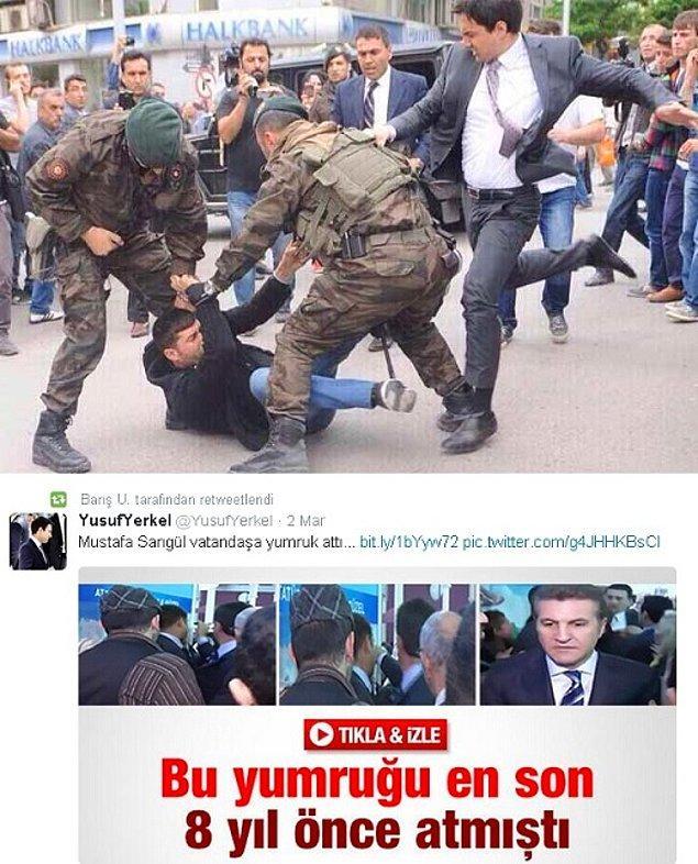 16. Başbakanlık müşaviri Yusuf Yerkel, Mustafa Sarıgül'ü vatandaşa yumruk attı diye eleştirirken, kendisi Soma'da yerde yatan vatandaşı tekmelememeliydi