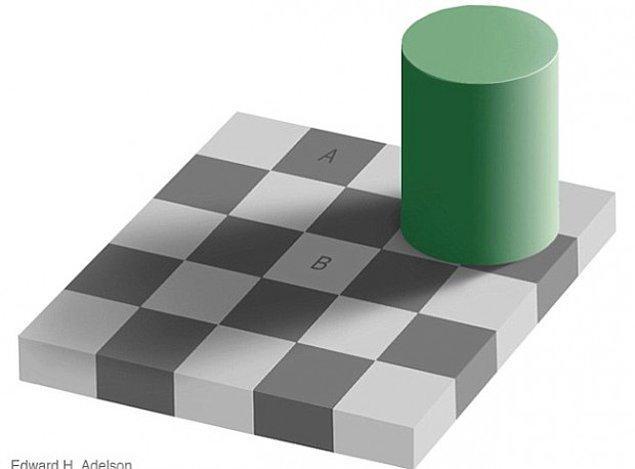 """3. Buna muhtemelen inanmayacaksınız, fakat """"A"""" ve """"B"""" harfleriyle işaretlenmiş olan kareler kesinlikle aynı gri renk tonuna sahiptir."""