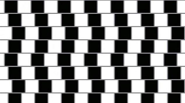 19. Bu yatay çizgiler eğimli ve düzensiz olarak gözükmektedir, fakat yeterince bakarsanız aslında çizgilerin birbirlerine paralel olduklarını görebilirsiniz