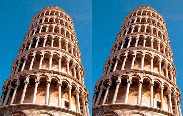 20. Pisa Kulesi'nin sağdaki fotoğrafında kule daha fazla sağa yatmış olarak görünmektedir. Gerçekte ise bu iki fotoğraf bire bir aynıdır