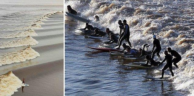 16. Amazonlar'da ve Severn, İngiltere'de oluşan 'gelgit dalgaları' : Taşkın sularının denize döküldüğü noktada oluşan dalgaların nehirlerin yukarılarına doğru ilerlelemesi olayı.