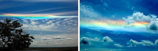 18. Ateş Gökkuşağı: Sirius bulutlarının mevcut olduğu ve güneşin tepede bulunduğu dönemlerde, buz kristallerinin yatay olarak hizalanmış olmasından dolayı meydana gelen ve normal gökkuşağının aksine düz bir yapıya sahip olan gökkuşağı türüdür.