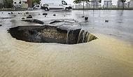Ankara'da Kuvvetli Yağış Yol Çökertti
