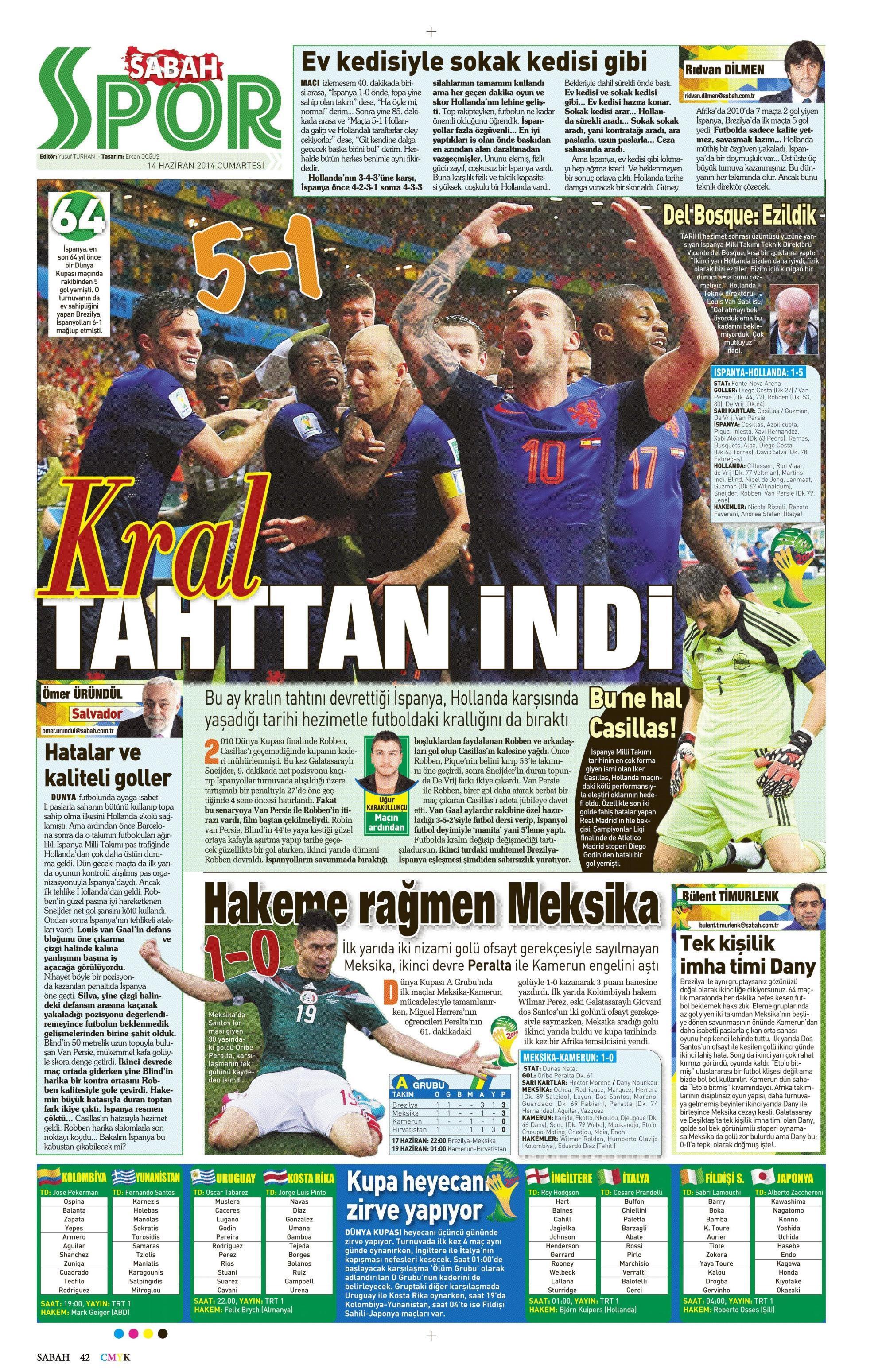 Sporun Manşetleri   14 Haziran 2014 - onedio com