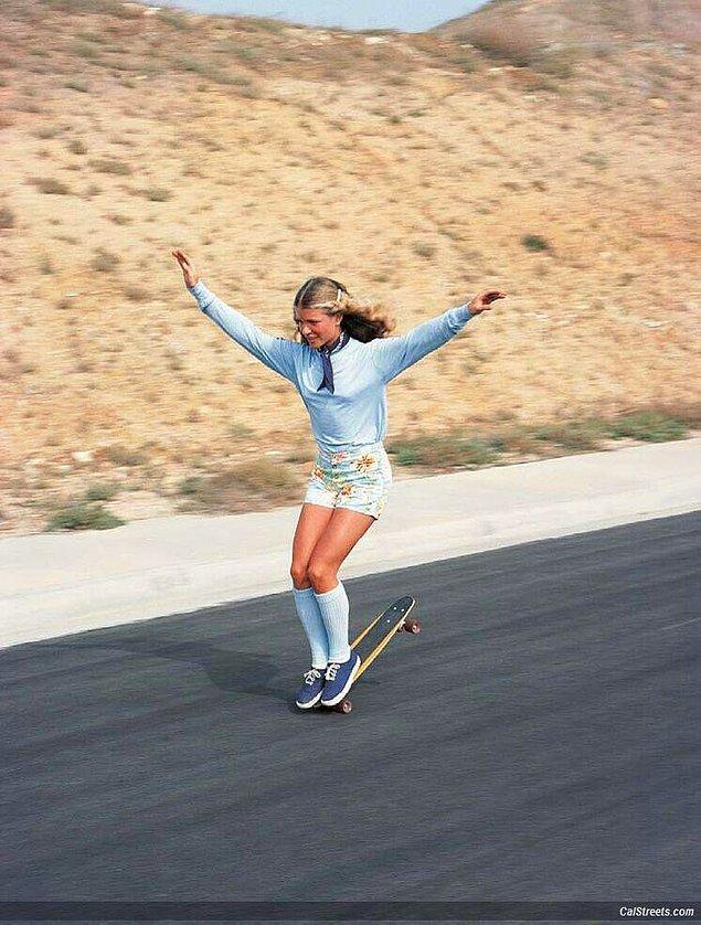 45. Harika bir serbest stil kaykaycı olan Ellen O'Neal (1970'ler)