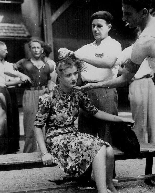 8. Utanç; 2. Dünya Savaşı'ndan sonra Almanlarla ilişkiye giren Fransız kadınlar işaretleniyor.