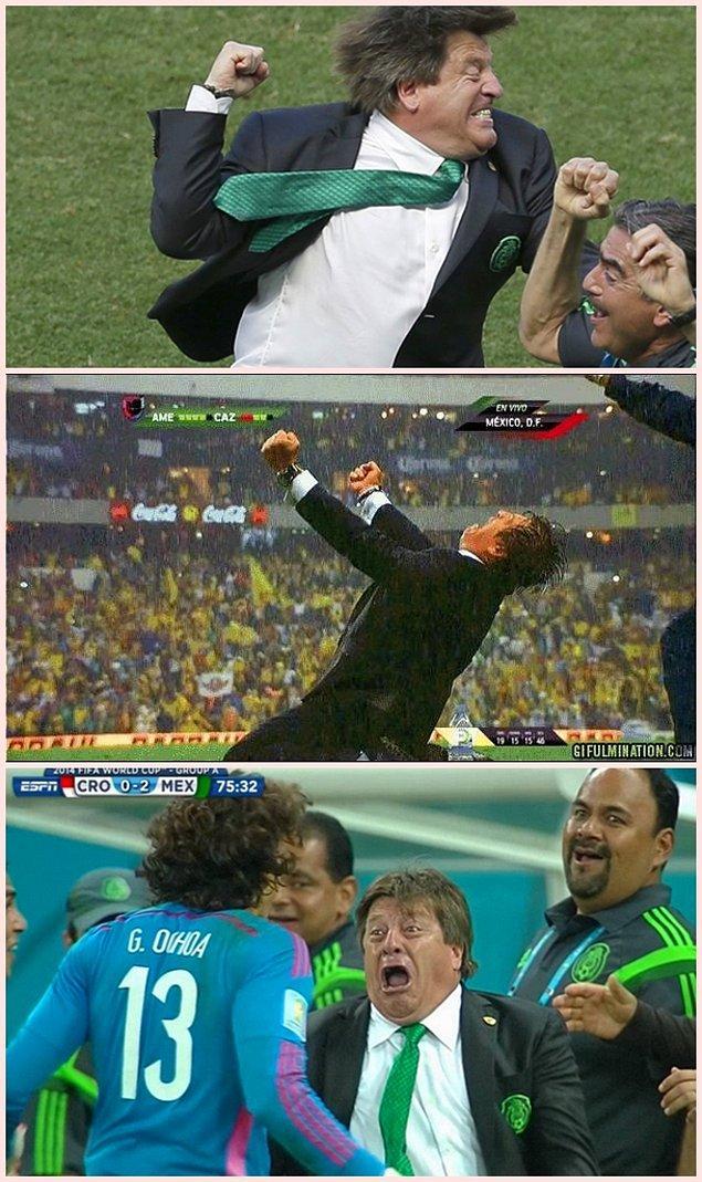 4. Meksika teknik direktörünün aşırı heyecanı ve gol sevinçleri görülmeye değerdi.