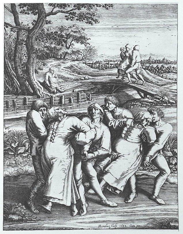 """8. 1518 yılında Strasbourg'da """"dans salgını"""" bir çok can aldı."""