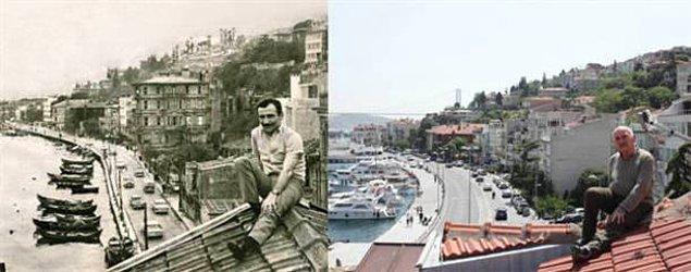 1. Tuncel Kurtiz, 44 yıl arayla Arnavutköy'deki evinin çatısında.