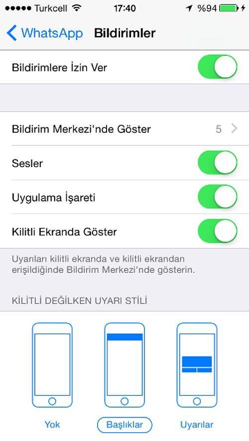 Iphone 6s Plus whatsapp mesaj önizleme