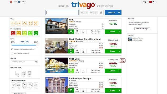 8. Otel Siteleri Sepeti -Trivago.com