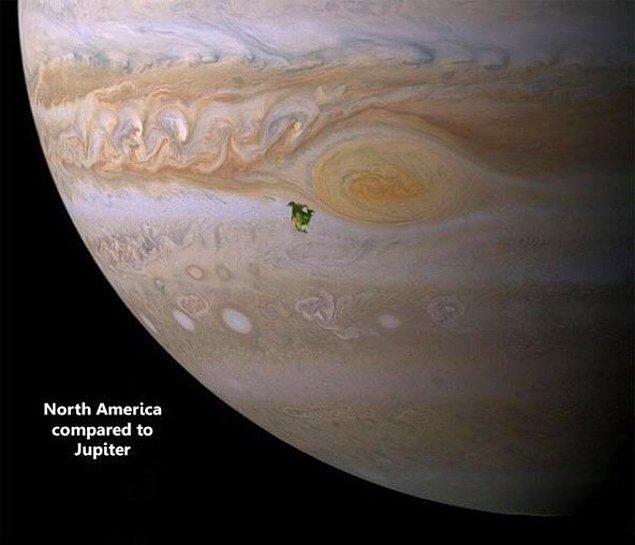 5. Gezegenlerden konuşalım mı biraz? Şu leke gibi görünen yeşilimsi nokta Jupiter üzerinde Kuzey Amerika.