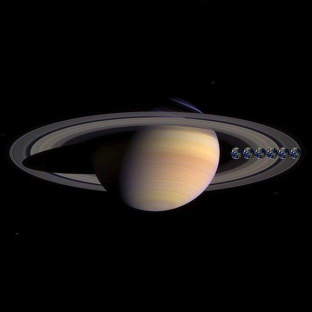 Здесь вы видите сравнение Сатурна и Земли.