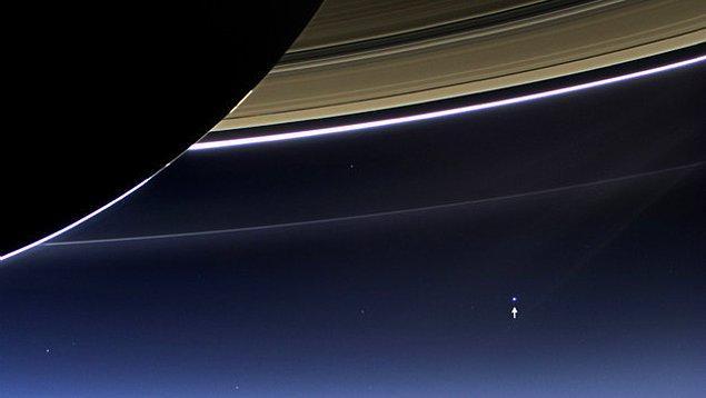12. Satürn Halkasının hemen arkasından Dünyamız.
