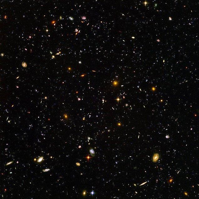23. Hadi biraz büyük düşünelim, Hubble Teleskobuyla çekilen bu fotoğrafta bile binlerce galaksi, binlerce galaksi içinde milyonlarca yıldız ve kendi sistemleri ile gezegenleri bulunmakta.