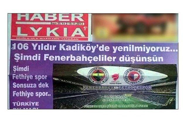 2. Çünkü 106 yıldır Fenerbahçe'ye yenilmemiştir.