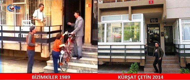 22. Ali'nin ilk bisiklet heyecanı. Sabri Bey ve Kapıcı Cafer tebrik ediyor.  Yer: Suadiye
