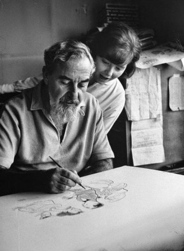 1- Karikatürist Al Hirschfeld ve kızı Nina, 1961.