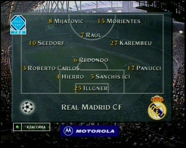 12. Real Madrid'in 1998 Şampiyonlar Ligi finaline çıktığı ilk 11