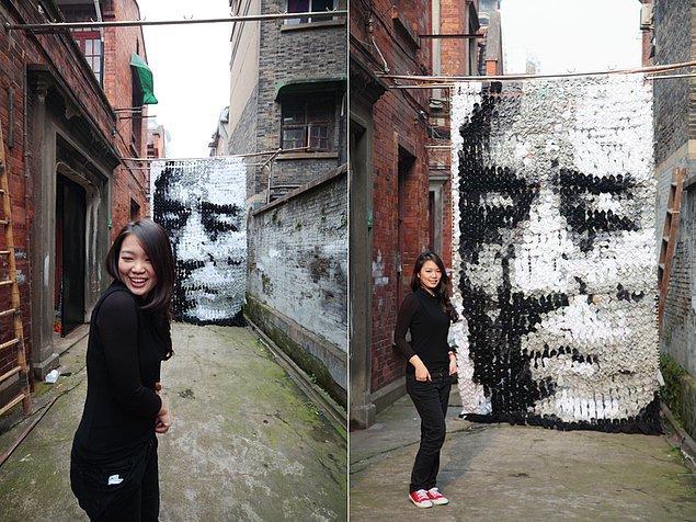 Ünlü yönetmen Zhang Yimou çoraplardan yapılmış portresi
