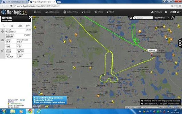 Havacılık hayranlarının olduğu Flightradar24'ün twitter adresine koyulan bir fotoğrafta, insanlar Lakeland, Florida üzerinde seyreden farklı bir şey olduğunu gördüler.
