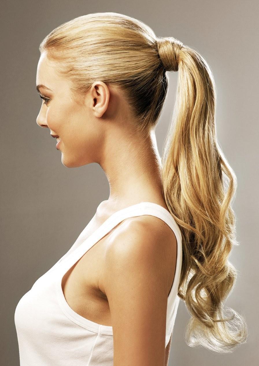 Причёски с накладным хвостом на средние волосы