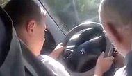 Dedesinin araba sürmeyi öğrettiği çocuğun zor anları