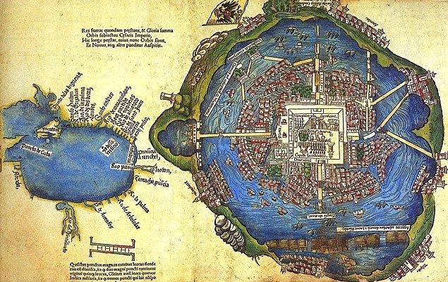 """6. Azteklerin başkentinin adı """"Tenochtitlan""""dı ve bir gölün ortasında bulunuyordu."""