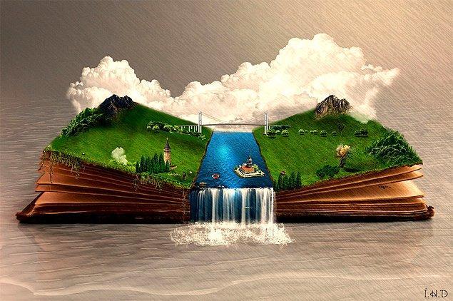 """9. """"KİTAPTA İSTANBUL"""" adlı çevre konulu çalışması, zaman içinde İstanbul'un güzelliklerini sadece kitaplarda okuyacağımıza dikkat çekiyor."""