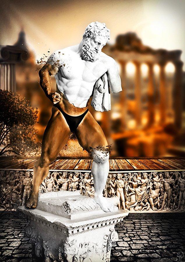 """19. HEYKEL: 1980 yılında Antalya'da ortaya çıkarılan ve diğer parçalarının 2011 yılında ABD'den Türkiye'ye iadesi sağlanan """"Yorgun Herakles"""" heykeli haberlerine bir gönderme."""