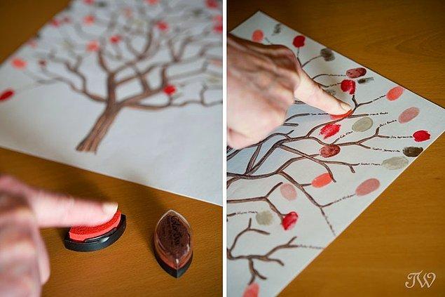 1. Gelenlerin tatlı şeyler yazacağı anı defteriniz mi yok? Hemen bir kağıda büyük bir ağaç çizip yanına da parmak mürekkebi koyabilirsiniz. Gelenler parmak izlerini bırakır, üzerlerine isimlerini yazar, size de mükemmel bir hatıra olur.