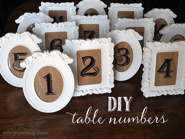 10. Masa numaralarını ayarlamayı hem değişik hem de kolay bir yolla halletmek isterseniz içine sayılar yazdığınız bu çerçeveleri masalara eklemeniz yeterli olacaktır.