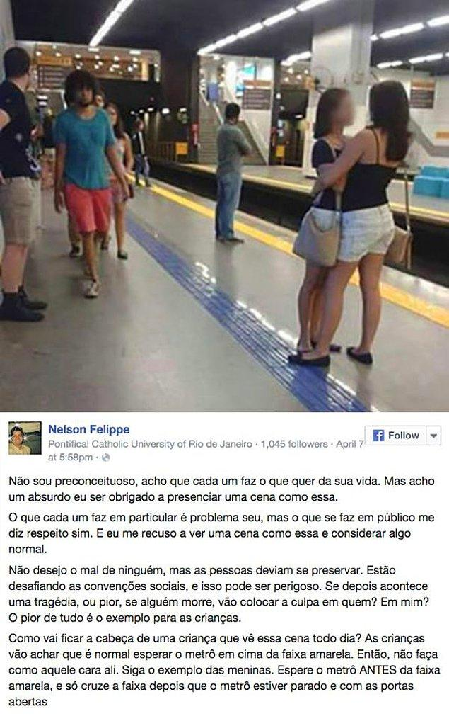 Nelson Felippe Facebook'ta bu fotoğrafı paylaştı ve yazdıklarıyla herkesle kafa buldu.