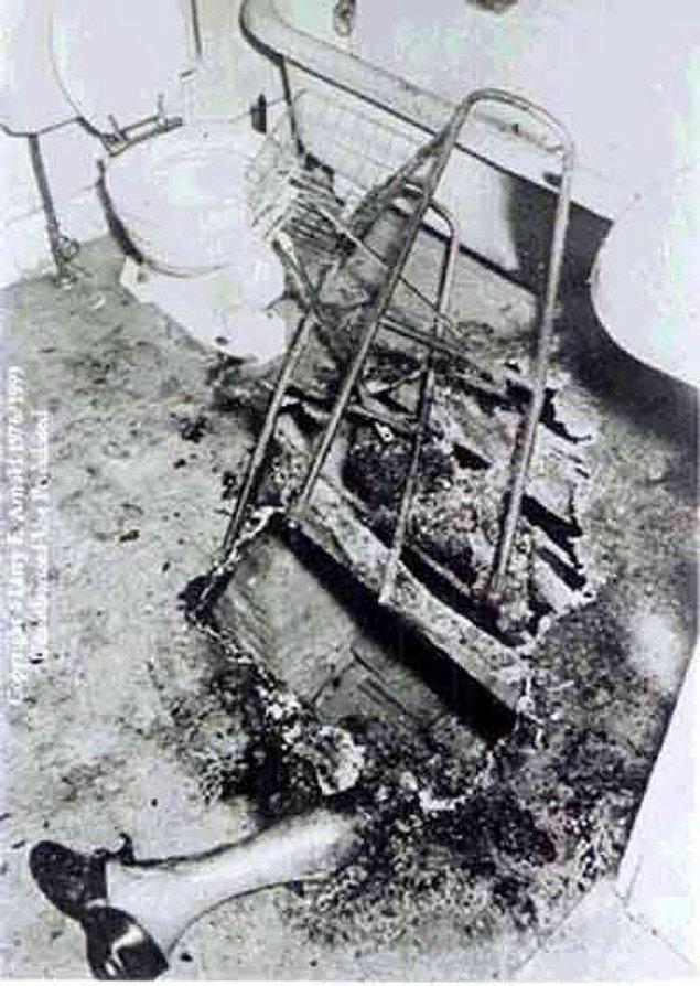 12. Kendiliğinden yanan bir kurbandan geriye kalanlar.