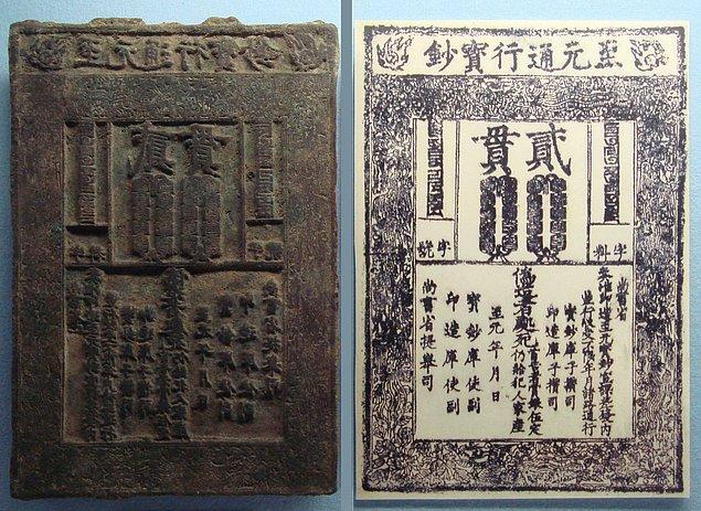 8. İlk kağıt parayı Çinliler kullandı