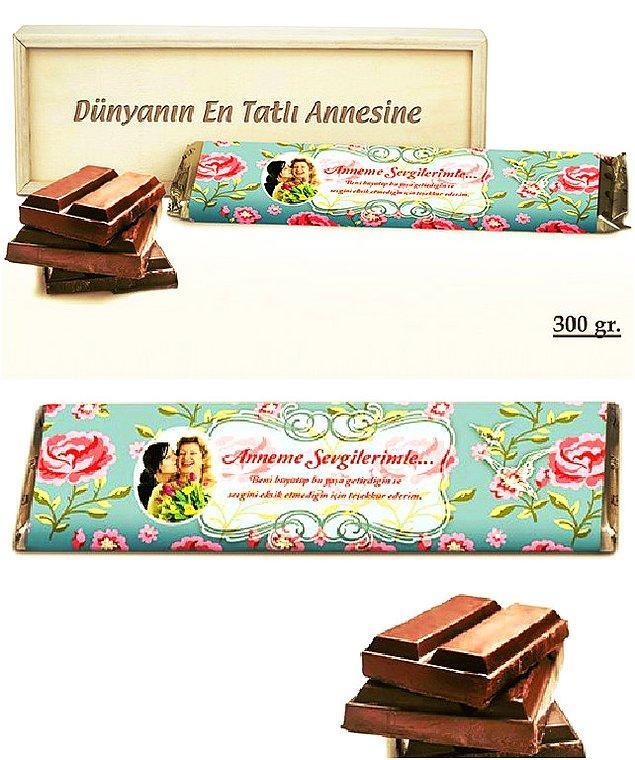 Dünyanın En Tatlı Annesi Ahşap Kutulu Çikolata