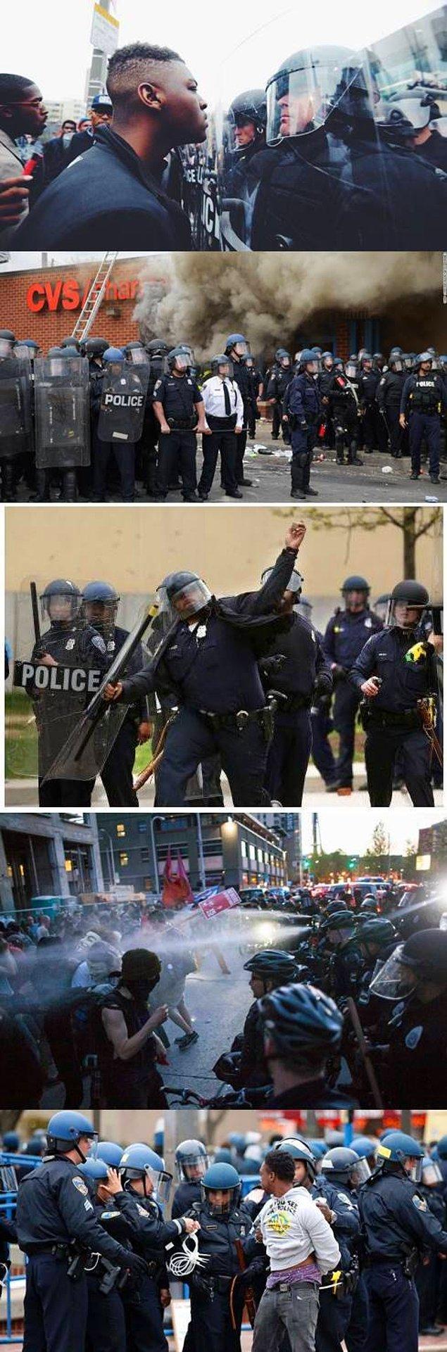 Polis müdahalelerinden kesitler. 6 polis açığa alındı