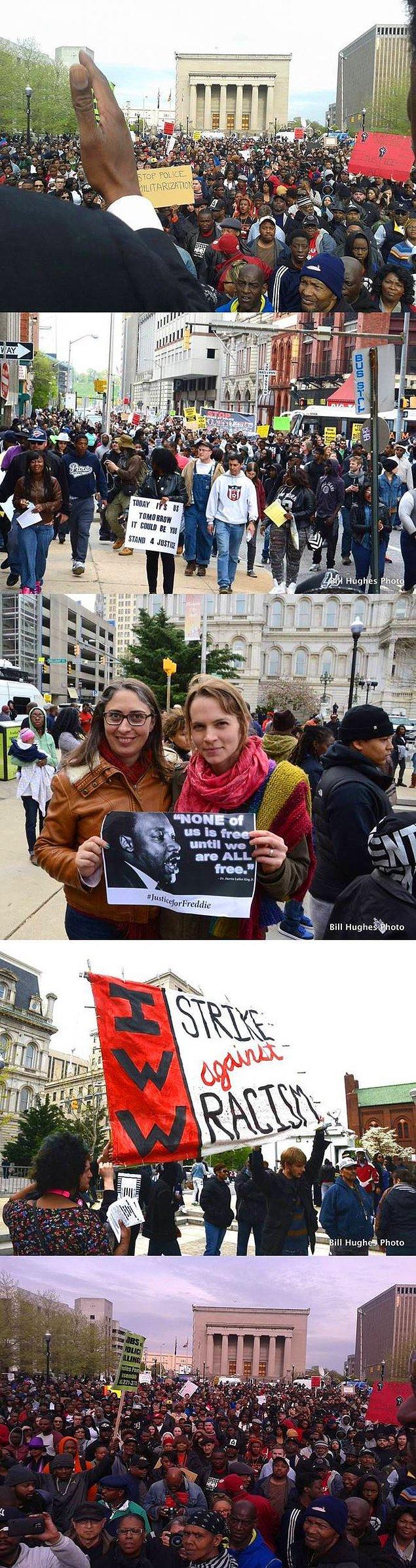 Baltimore için toplanan 10.000 barış yanlısı protestocu