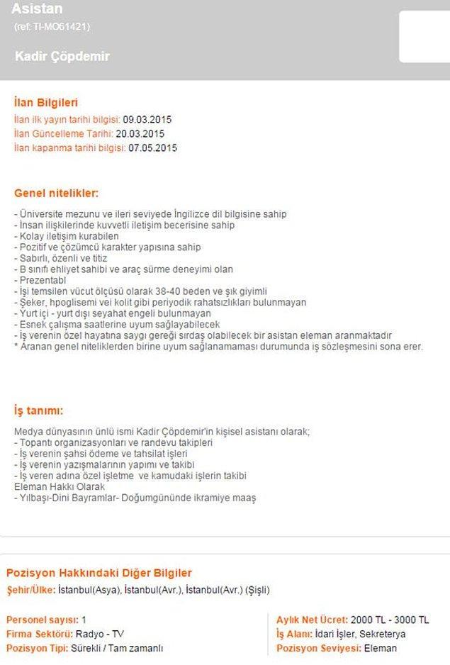 Kadir Çöpdemir'in asistan aradığı iş ilanı şöyle: