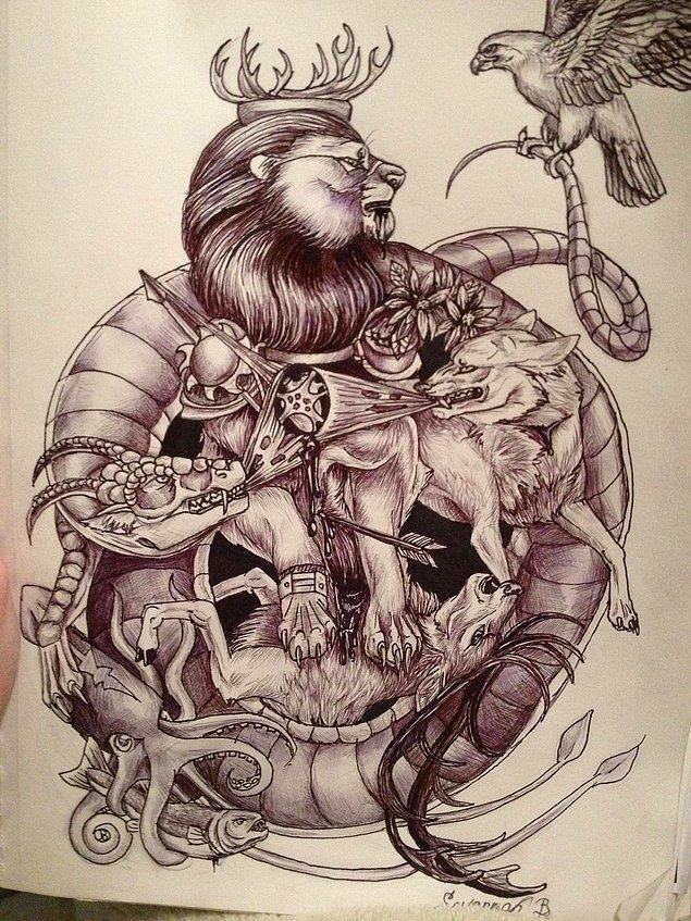 11. Taht oyunlarını en iyi simgeleyen dövme bu olsa gerek. Kimin pençesi kimin böğründe belli değil.