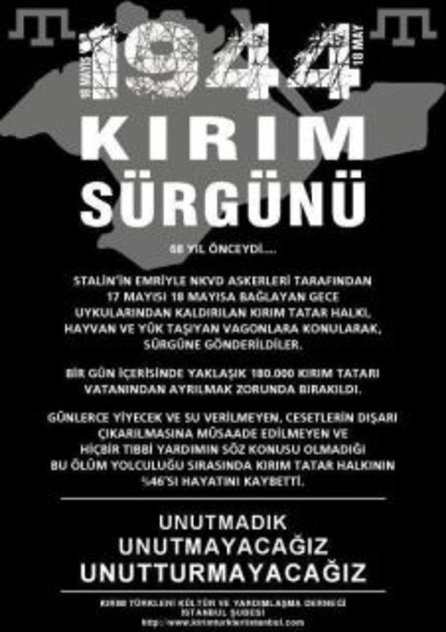 5-Kırım Tatarları, bu sürgünde Özbekistan, Kazakistan, Sibirya gibi bir çok bölgeye dağıtılmış, binlerce insan yurdundan koparılmıştı. Bu çileli yolculuk bittiğinde o hayvan vagonlarının neredeyse yarısı boşalmıştı. Kırım Tatarları, sürgünde 195 bin insan kaybetti…