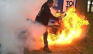 Lastik yakarken motosikleti yaktı