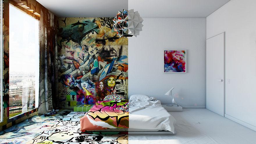 Yar beyaz yar grafiti ayn otel odas nda ki farkl for Decoration chambre real madrid
