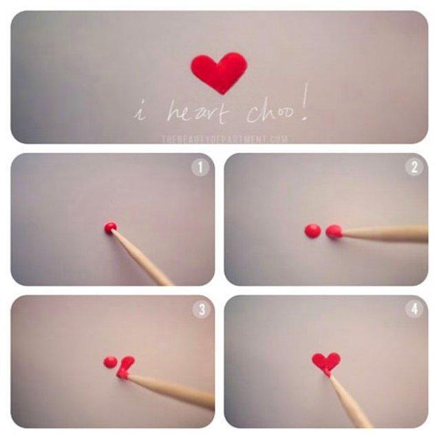 29. Böylesine minnoş bir kalp deseni yapmak sadece bir kürdan ile mümkün!